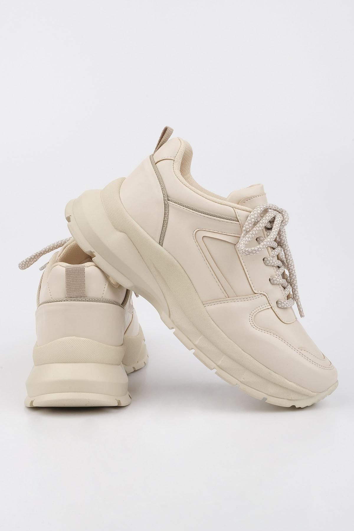 Marjin Kadın Bej Sneaker Dolgu Topuk Spor Ayakkabı Besri 1