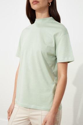 TRENDYOLMİLLA Mint Basic Dik Yaka Örme  T-Shirt TWOAW20TS0096 3