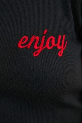 TRENDYOLMİLLA Siyah Nakışlı Fitilli Örme Bluz TWOSS21BZ0770 3