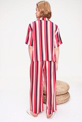 Trend Alaçatı Stili Kadın Mercan Yakalı Dokuma Pijama Takım ALC-X5895 4