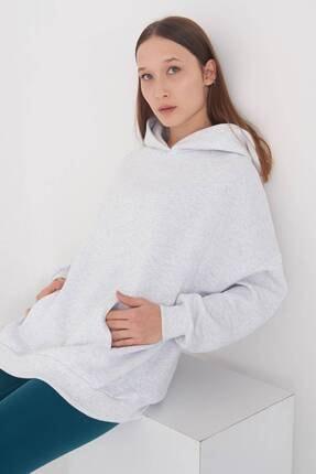Addax Kadın Kar Melanj Kapüşonlu Sweat S0935 - W12 - W13 ADX-0000022257 0