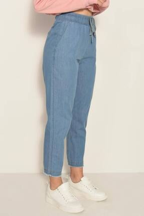 Addax Kadın Kot Rengi Önden Bağlamalı Pantolon Pn4317 - Pnl ADX-0000022956 1