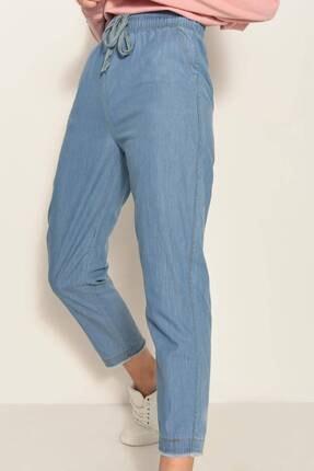 Addax Kadın Kot Rengi Önden Bağlamalı Pantolon Pn4317 - Pnl ADX-0000022956 2