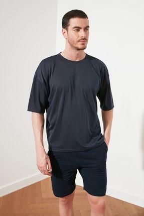 TRENDYOL MAN Açık Lacivert Basic Erkek Oversize Bisiklet Yaka Kısa Kollu T-Shirt TMNSS21TS0811 1