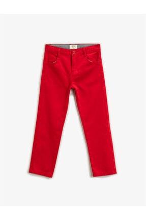 Koton Erkek Çocuk Kırmızı Pamuklu Chino Pantolon 0