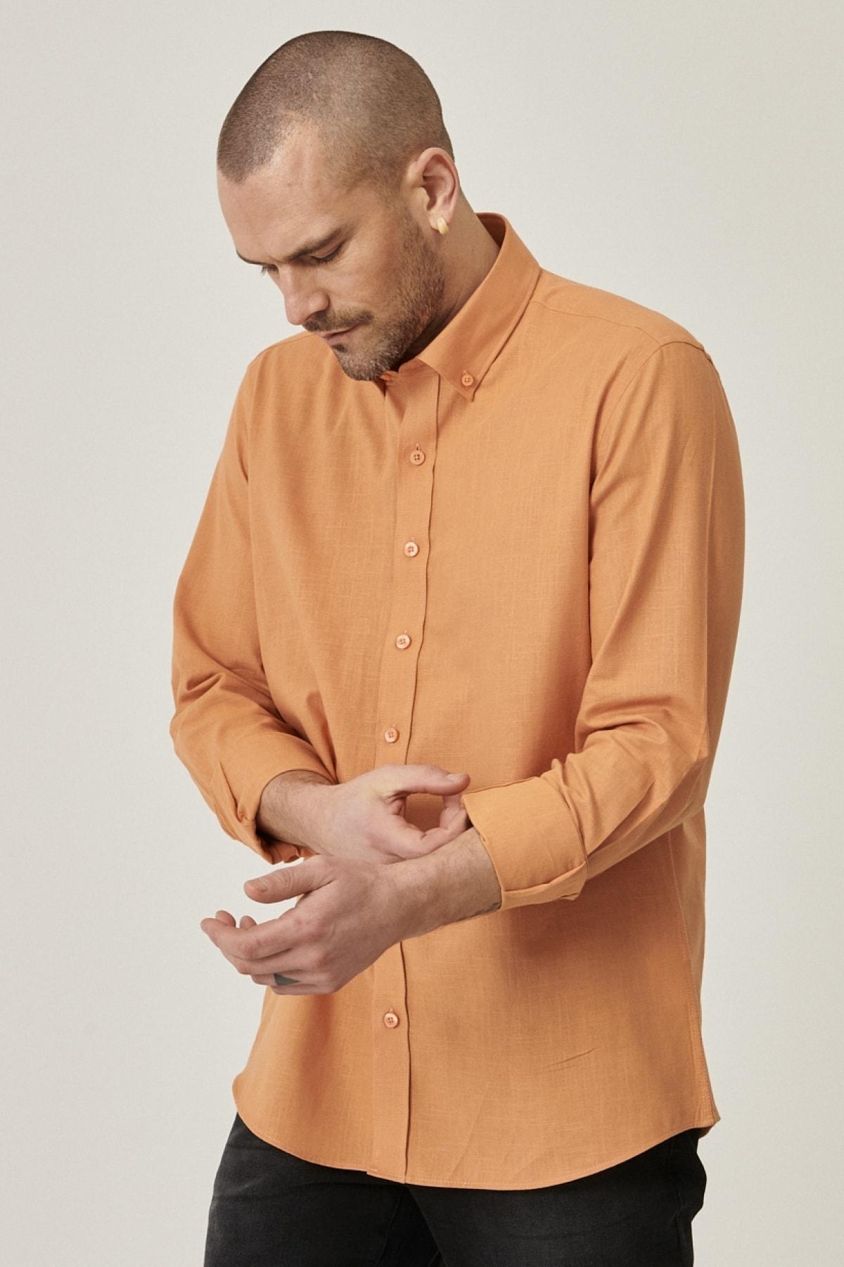 Erkek Kiremit Tailored Slim Fit Dar Kesim Düğmeli Yaka %100 Koton Gömlek