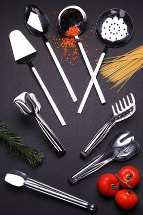 Kitchen Life Lüx Paslanmaz 304 Çelik Maşa Ve Kepçe Seti 8'li 0