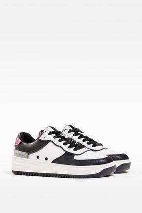 Bershka Kadın Beyaz Kontrast Kabartmalı Spor Ayakkabı 1