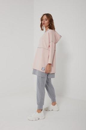 oia W-0900 Pudra Gri Pamuklu Tunik Pantolon Takım Eşofman Takım 1