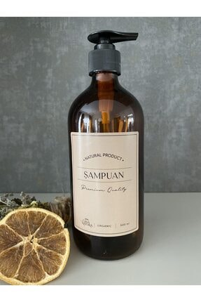 CASANATURA Amber Cam Şişe 500ml Kraft Etiket Şampuan 0