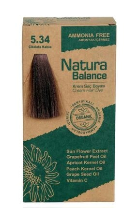 NATURABALANCE Natura Balance - Organik Krem Saç Boyası 5.34 Çikolata Kahve 60ml 0