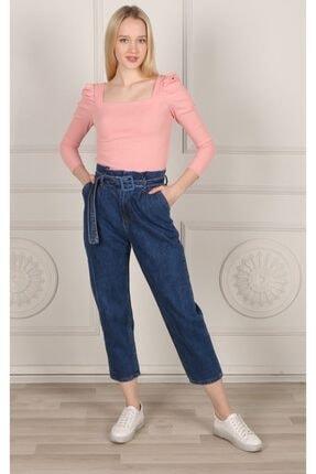 Koyu Mavı Yuksek Bel Detaylı Kot Pantolon 120353