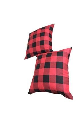 Çeyizcim Kırmızı Dama Desenli Kırlent-yastık Modelleri Kırmızı-Siyah Combin