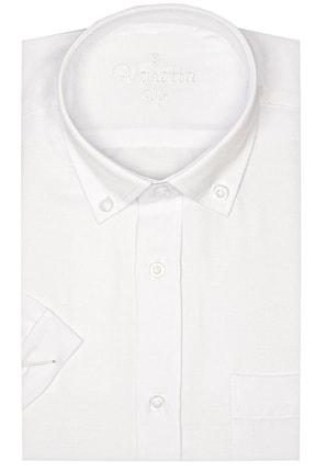 Picture of Erkek Beyaz Büyük Beden Yaka Düğmeli Kısa Kollu Oxfort Gömlek