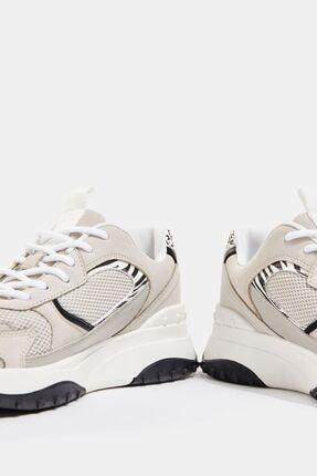 Bershka Kadın Kontrast Desenli Fileli Spor Ayakkabı 4