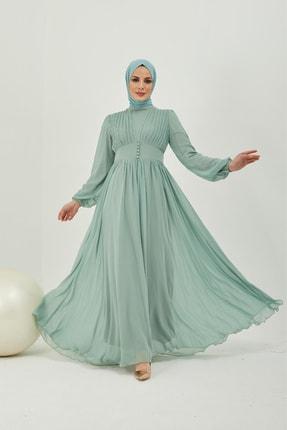 Kadın Mint Yeşili Kloş Uzun Abiye Elbise KMK-K1