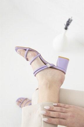 Straswans Camren KadınTopuklu Deri Sandalet Lila 3