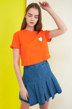 TRENDYOLMİLLA Turuncu Crop Örme T-Shirt TWOSS21TS0649 2