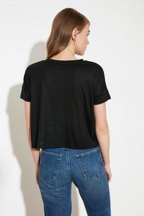 TRENDYOLMİLLA Siyah Nakışlı Fitilli Örme Bluz TWOSS21BZ0900 3
