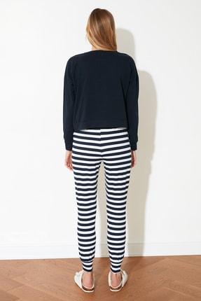 TRENDYOLMİLLA Lacivert Ayıcık Baskılı Örme Pijama Takımı THMAW21PT0302 4