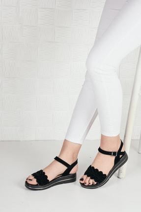 Weynes Kadın Siyah Süet Çiçekli Terlik Sandalet Ba20294 1