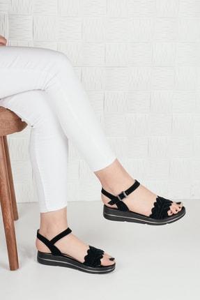 Weynes Kadın Siyah Süet Çiçekli Terlik Sandalet Ba20294 2