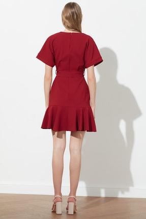 TRENDYOLMİLLA Bordo Kuşaklı Elbise TWOSS20EL0944 4