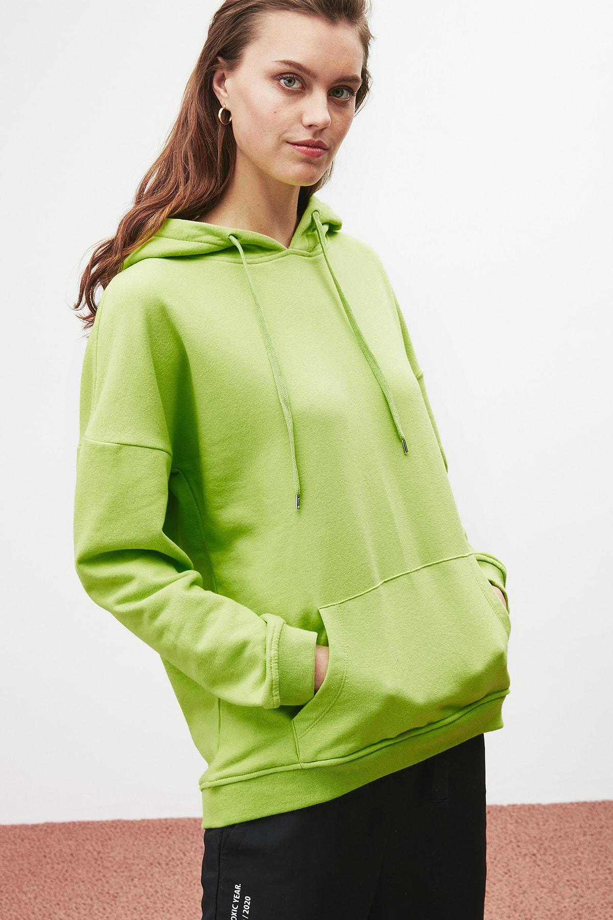 GRIMELANGE JANE Kadın Fıstık Yeşili Basic Kapüşonlu Sweatshirt 3