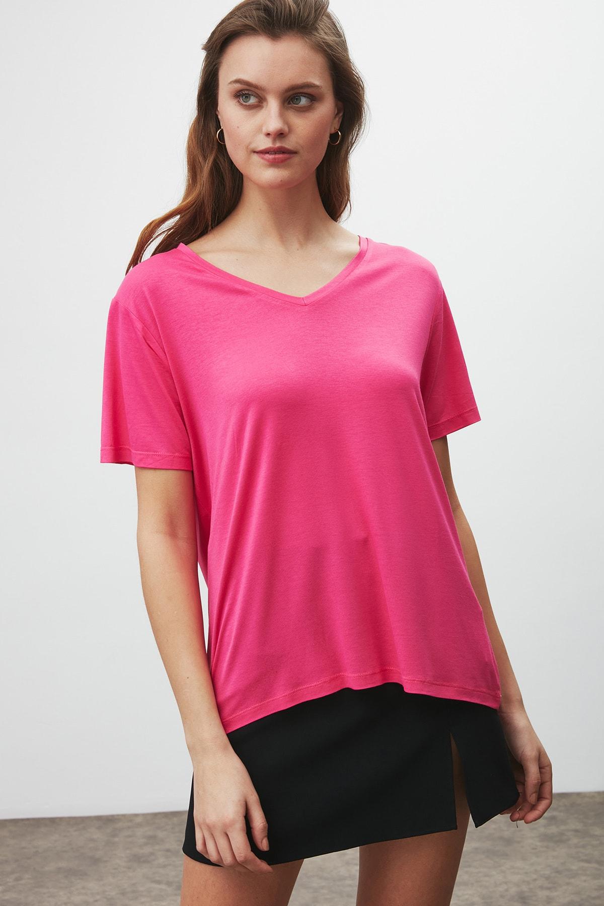 GRIMELANGE Vıolet Kadın Pembe Comfort Fit V Yaka Kısa Kollu T-shirt 0