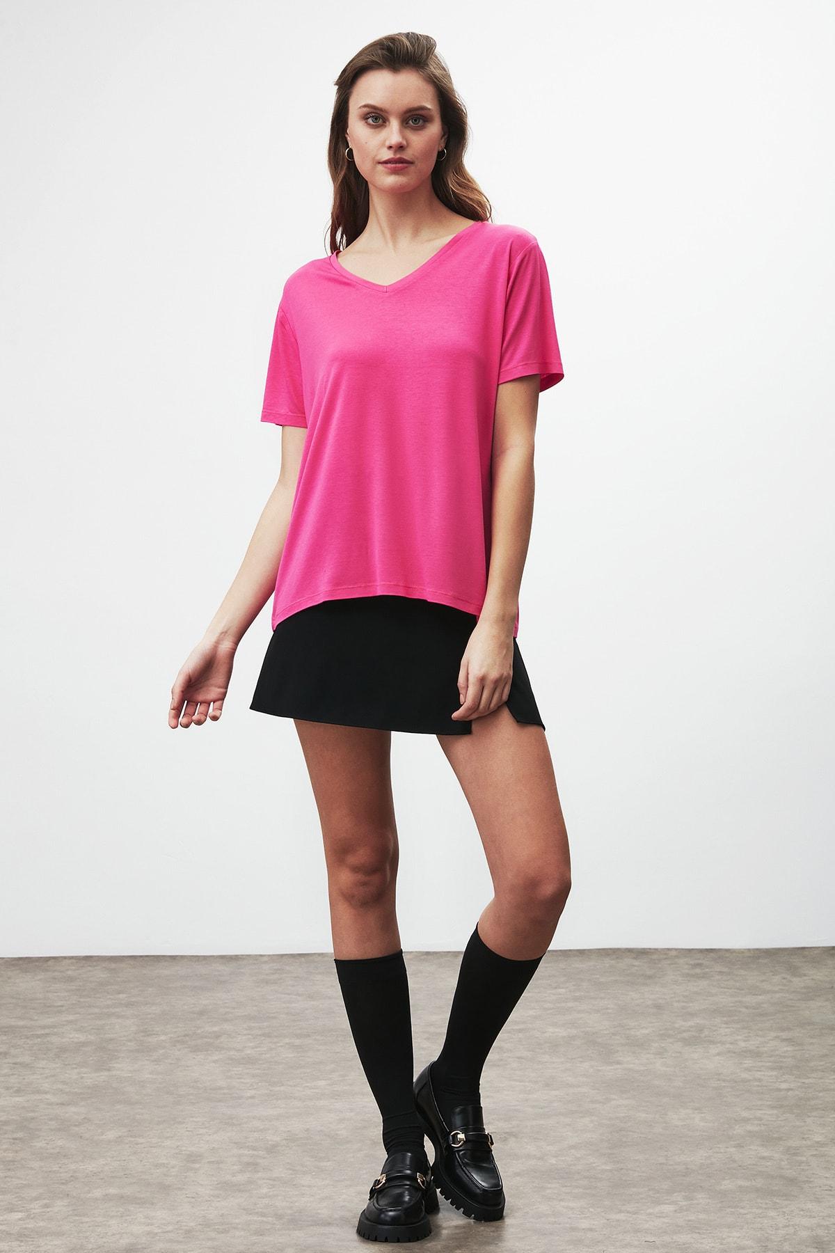 GRIMELANGE Vıolet Kadın Pembe Comfort Fit V Yaka Kısa Kollu T-shirt 1