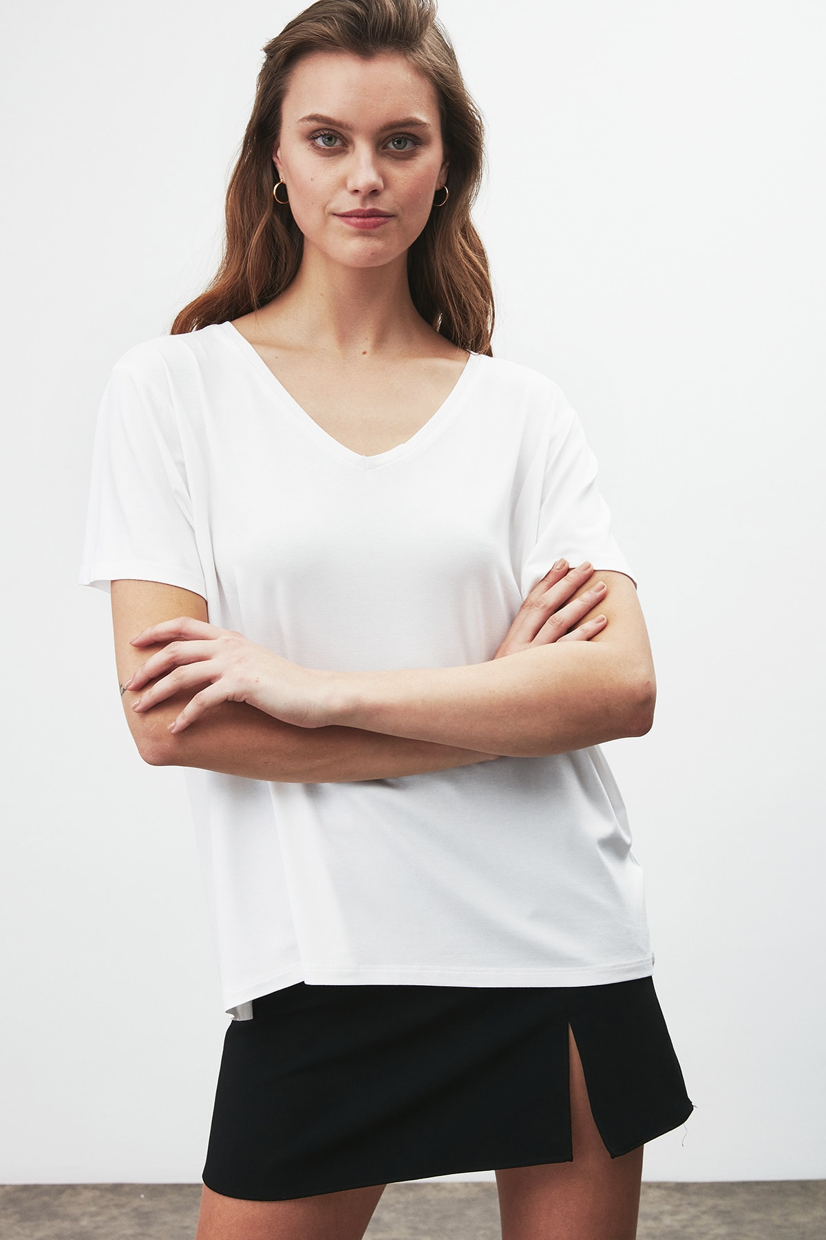 GRIMELANGE Vıolet Kadın Beyaz Comfort Fit V Yaka Kısa Kollu T-shirt 0