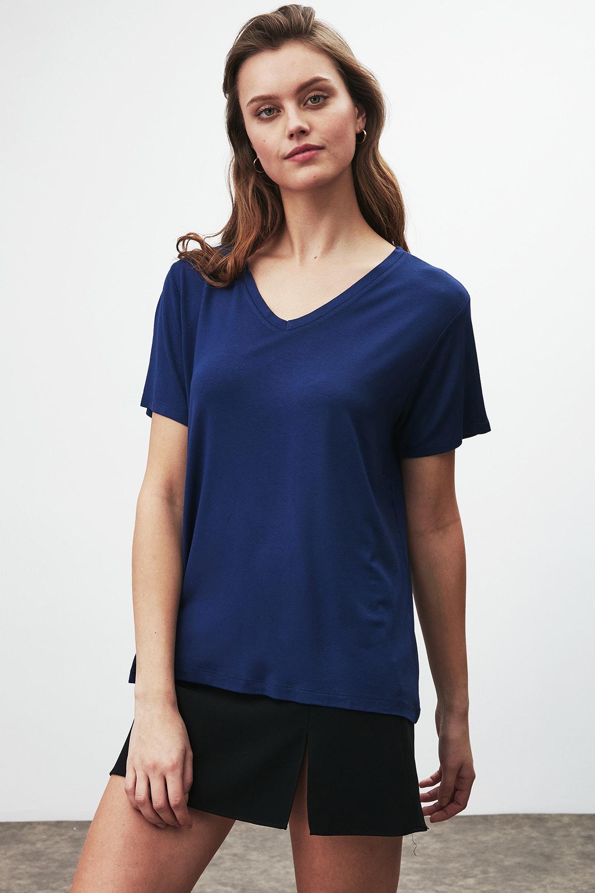 GRIMELANGE Vıolet Kadın Lacivert Comfort Fit V Yaka Kısa Kollu T-shirt 1