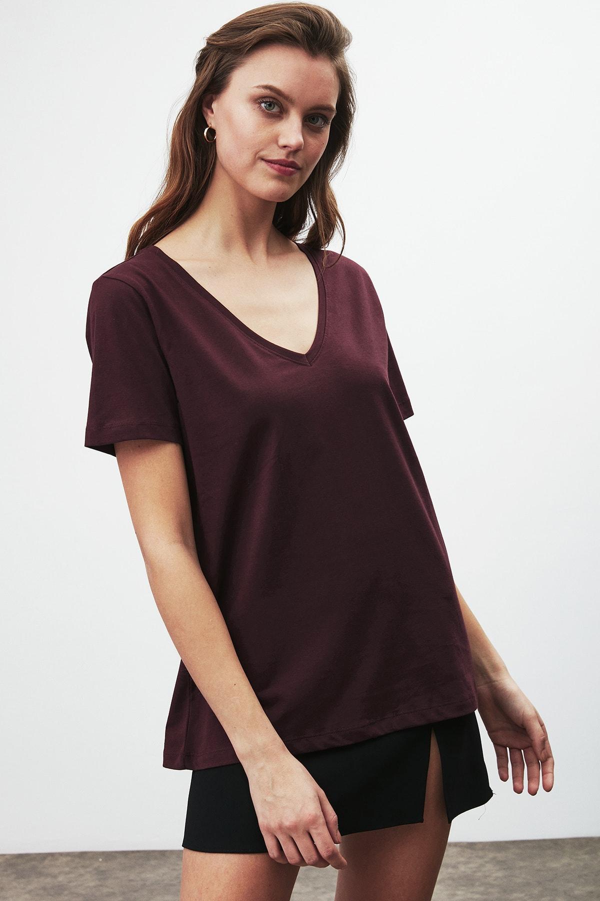 GRIMELANGE PAISLEY Kadın Bordo V Yakalı Kısa Kollu T-Shirt 2