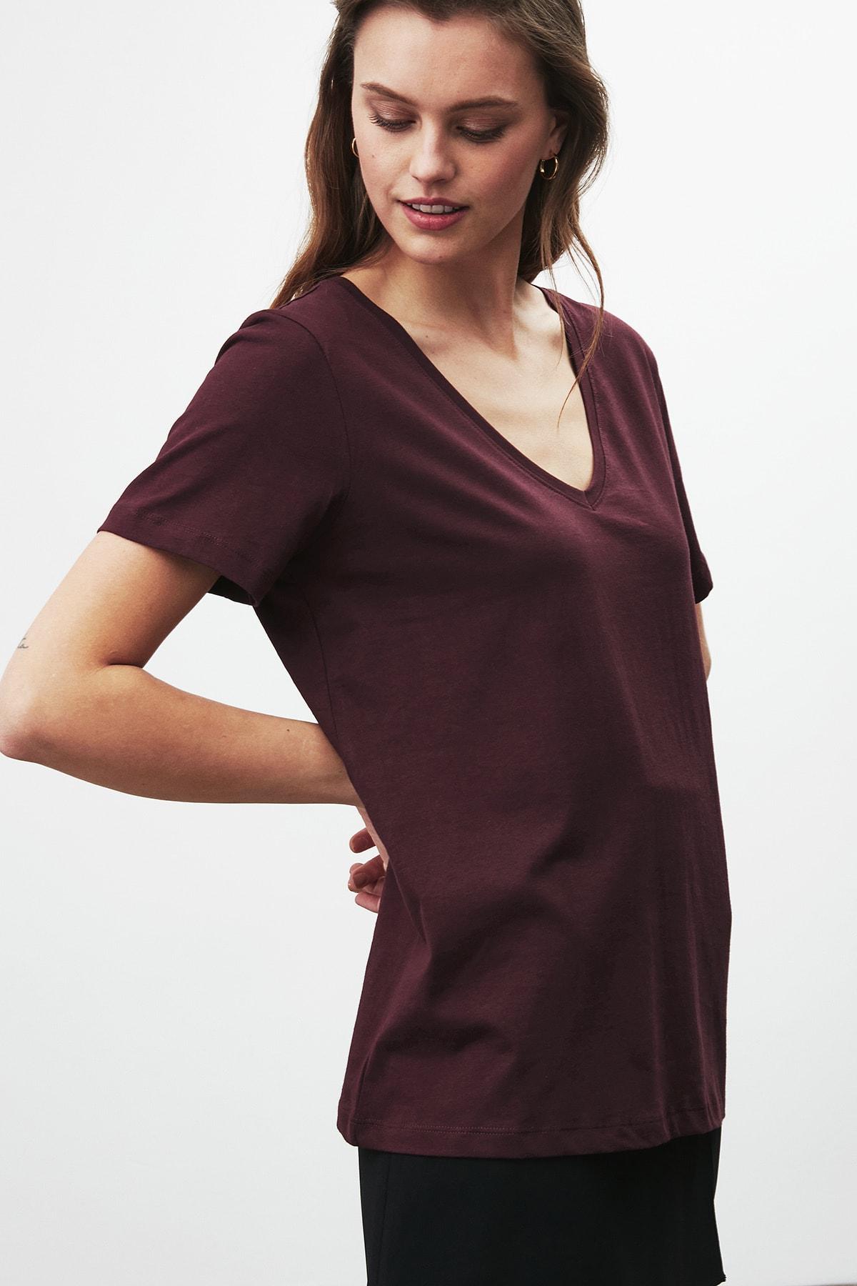 GRIMELANGE PAISLEY Kadın Bordo V Yakalı Kısa Kollu T-Shirt 3