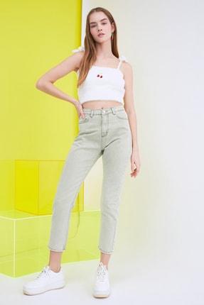 TRENDYOLMİLLA Haki Yüksek Bel Mom Jeans TWOSS21JE0172 1