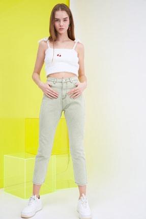 TRENDYOLMİLLA Haki Yüksek Bel Mom Jeans TWOSS21JE0172 2