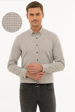 Pierre Cardin Erkek Açık Kahverengi Slim Fit Gömlek G021GL004.000.1214482 0