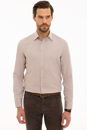 Picture of Açık Kahverengi Slim Fit Oxford Gömlek
