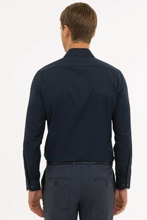 Pierre Cardin Erkek Lacivert  Slim Fit Armürlü Gömlek G021GL004.000.1214466 2