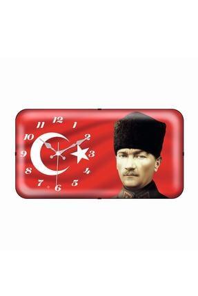 Galaxy Bayrak Atatürk Yatay Bombeli Duvar Saati 0