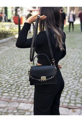 Modames Kadın  Siyah 2 Bölmeli Altın Aksesuar Detaylı  Omuz Çantası 0