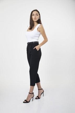 MD trend Kadın Siyah Kemerli Pileli Havuç Kesim Ofis Pantolon 4