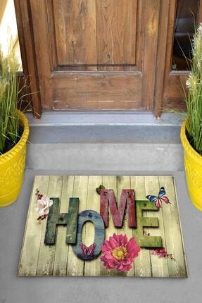 Evsebu Ahşap Renkli Home Dekoratif Kapı Önü Paspası 1