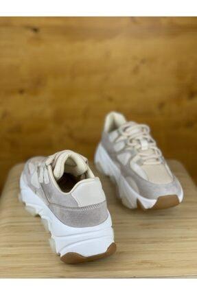 degasistanbul Kadın Kalın Taban Bej Spor Ayakkabı 3