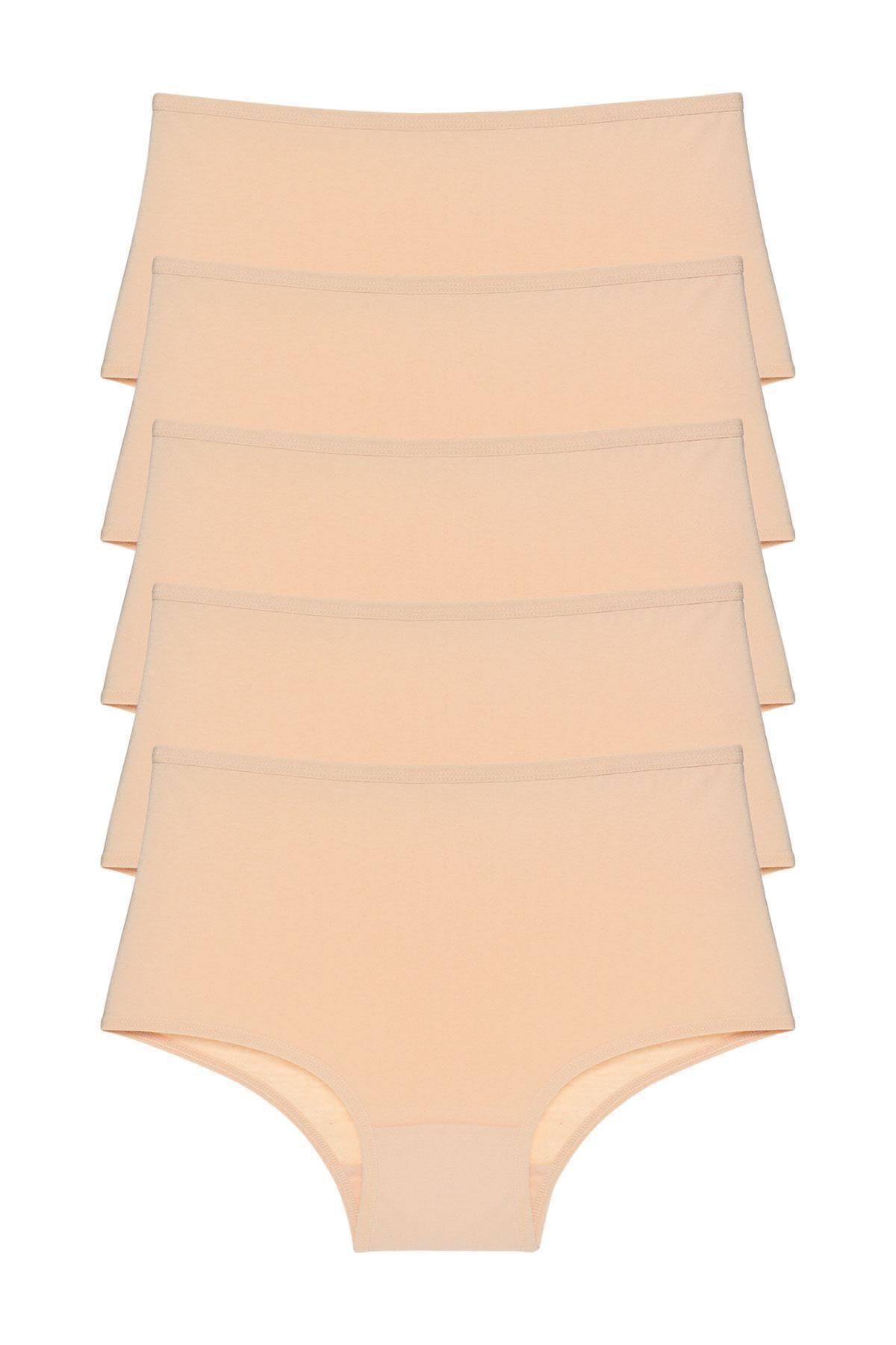 Kadın Ten Rengi Yüksek Bel Külot 5'li Paket