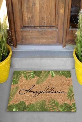 Evsebu Hoşgeldiniz Yaprak Dekoratif Kapı Önü Paspası 1