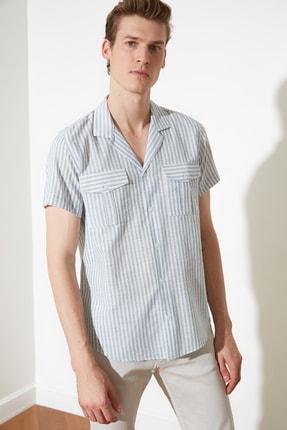 تصویر از Açık Mavi Erkek  Çizgili Apaş Yaka Kısa Kollu Çift Cepli Regular Fit Gömlek TMNSS21GO0591