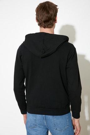 TRENDYOL MAN Siyah Erkek Regular Fit Basic Kapüşonlu Fermuarlı Sweatshirt TMNAW20SW0262 2