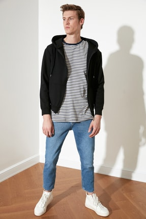 TRENDYOL MAN Siyah Erkek Regular Fit Basic Kapüşonlu Fermuarlı Sweatshirt TMNAW20SW0262 3