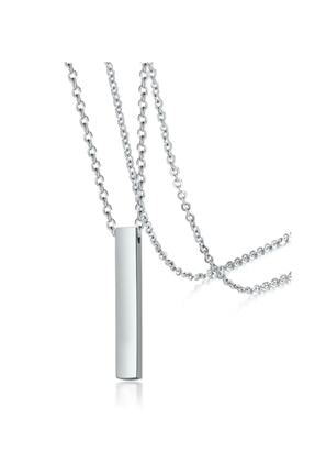 Tezgahtar ACCESSORY Unisex 70 Cm Uzun Bar Dikdörtgen Çelik Kolye 0